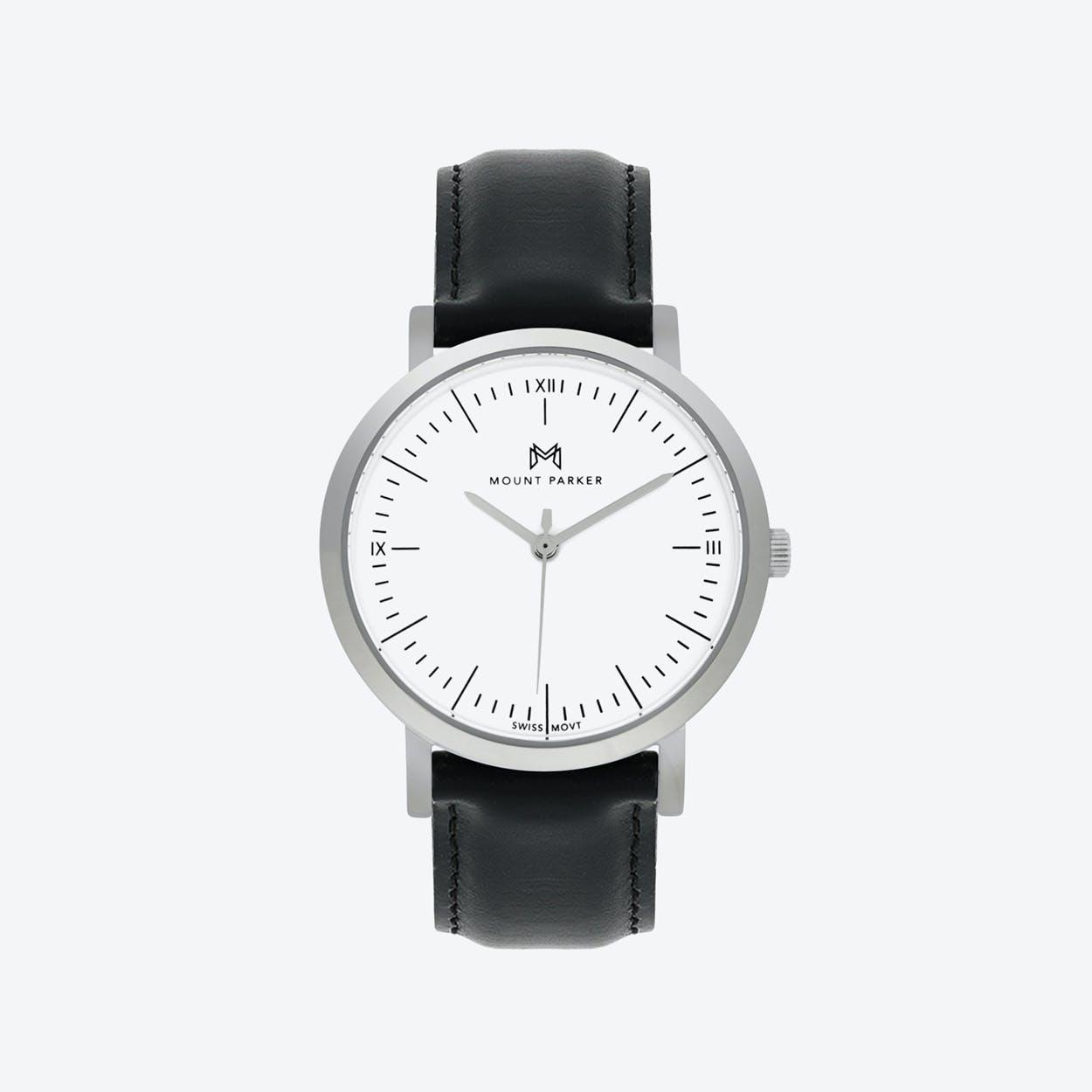 ODYSSEY Watch Glacier Silver with Black Leather Strap, 36mm
