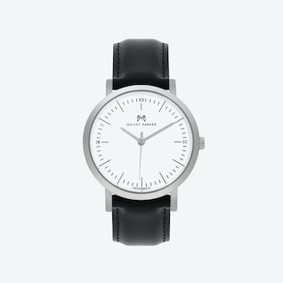 ODYSSEY Watch Glacier Silver with Black Leather Strap, 36mm