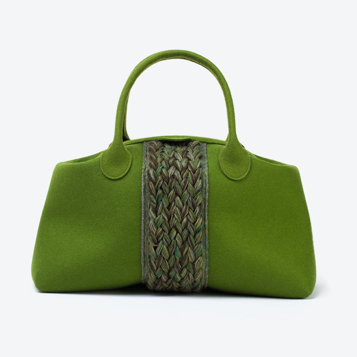 Plait Bag in Olive Green