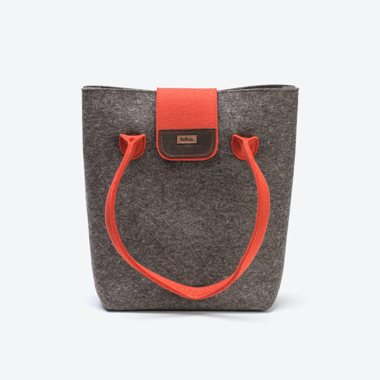 Practical Bag in Natural Mottled/Mango