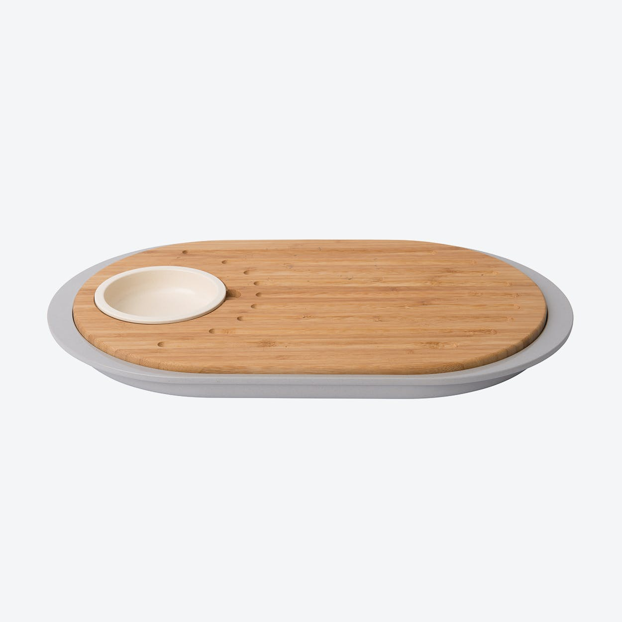 2-Sided Bamboo Tapas Cutting Board w/ Tray, Set of 2