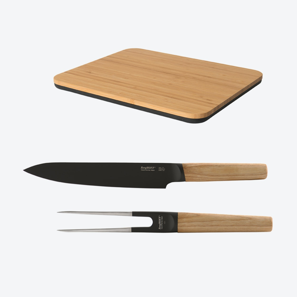 Cutting board w carving knife fork by berghoff