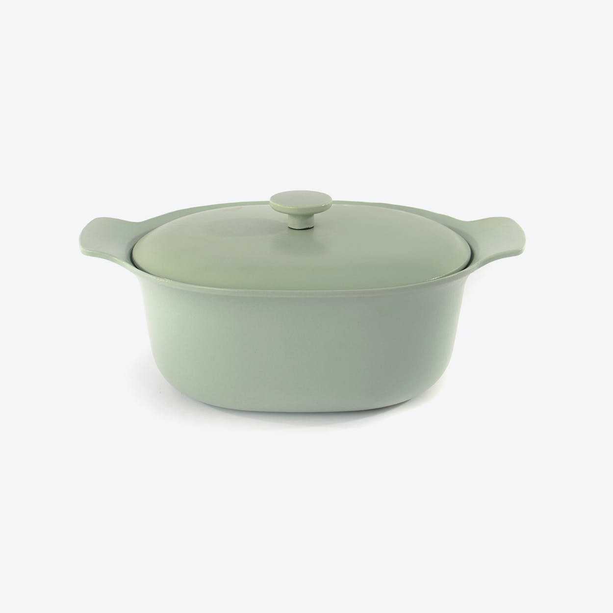 Cast Iron Oval Covered Casserole in Green, 28cm