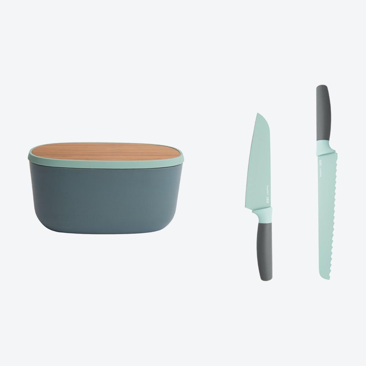 Knife Set w/ Reversible Cutting Board & Bread Bin