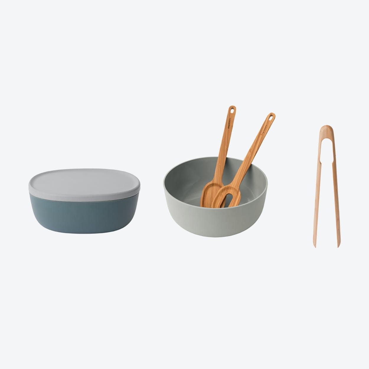 Bowl w/ Servers and Tongs Set