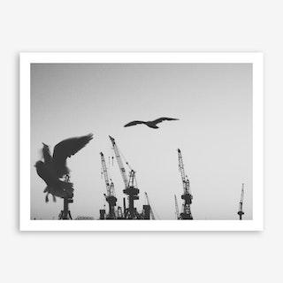 Harbour Giraffes 2 Art Print