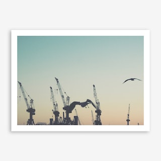 Harbour Giraffes 3 Art Print