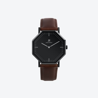 Nuit Noir Classic Black Hexagonal Watch with Dk Brown Leather Strap 44mm