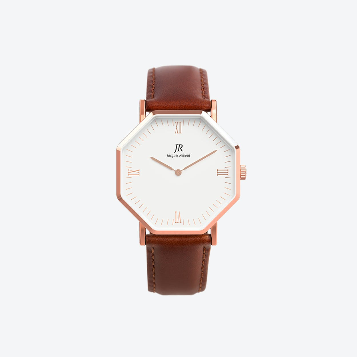 Lumiere Rose Gold Hexagonal Watch with Dk Brown Leather Strap 44mm
