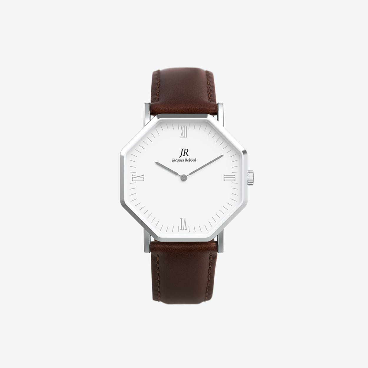 Silver Hexagonal Watch with Dk Brown Leather Strap, 44mm