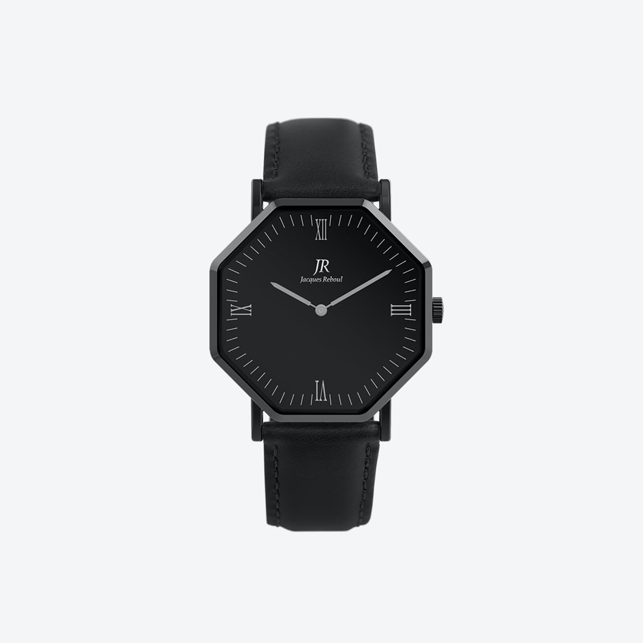 Black Hexagonal Watch with Black Leather Strap, 44mm