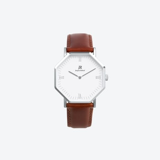 Silver Hexagonal Watch with Brown Strap