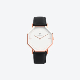 Unisex Rose Gold Hexagonal Watch with Black Leather Strap, 41mm