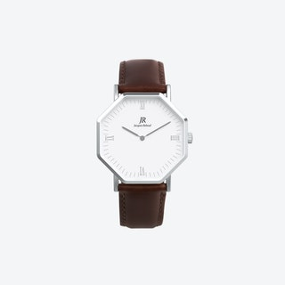 Silver Hexagonal Watch with Dk Brown Leather Strap, 41mm