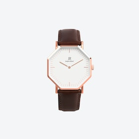 Lumiere Rose Gold Hexagonal Watch with Dk Brown Leather Strap