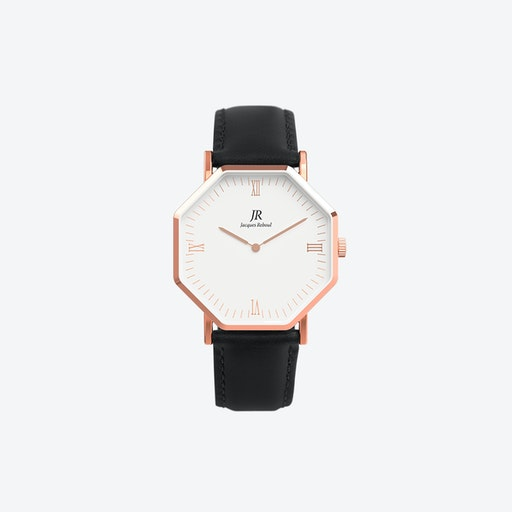 Rose Gold Hexagonal Watch with Black Leather Strap, 41mm
