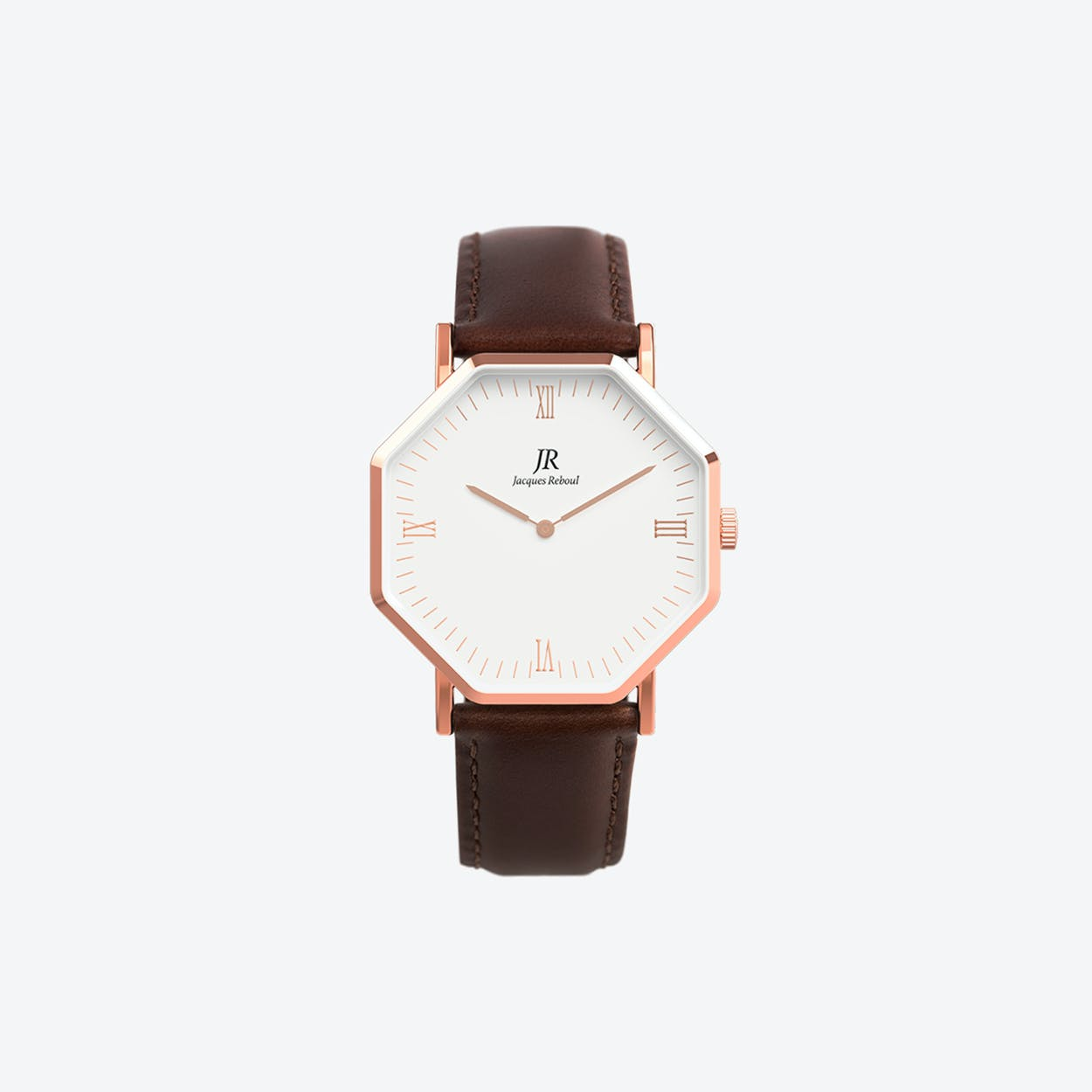 Lumiere Rose Gold Hexagonal Watch with Dark Brown Leather Strap