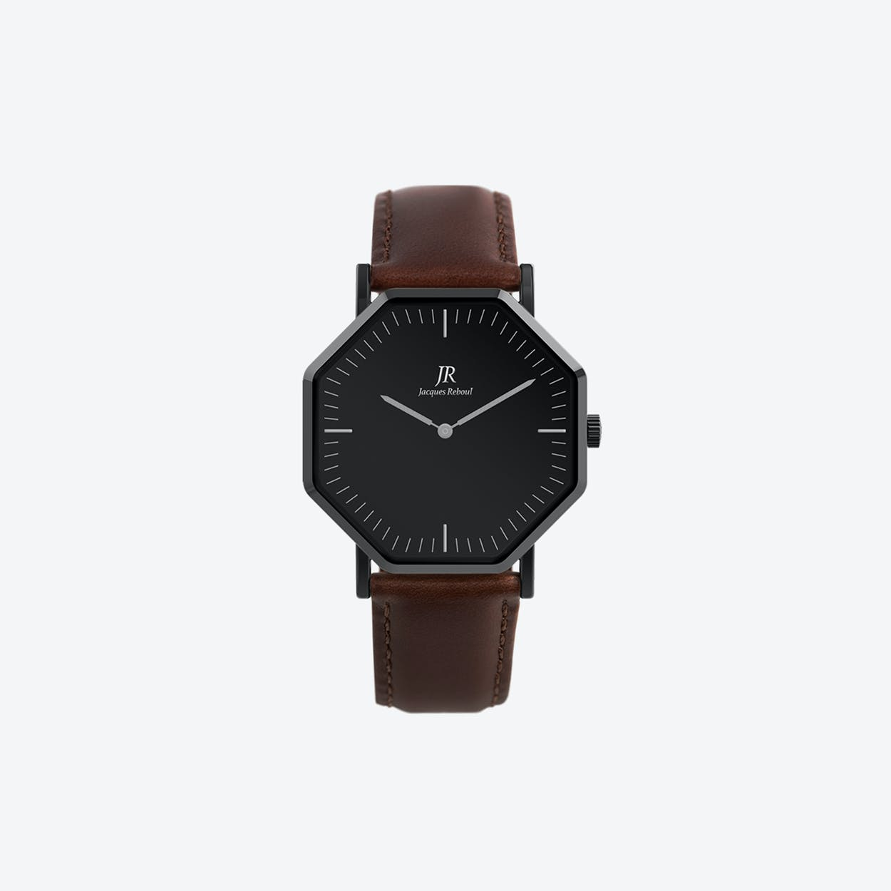 Black Hexagonal Watch with Brown Leather Strap, 41mm