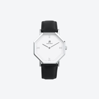 Silver Hexagonal Watch with Black Leather Strap