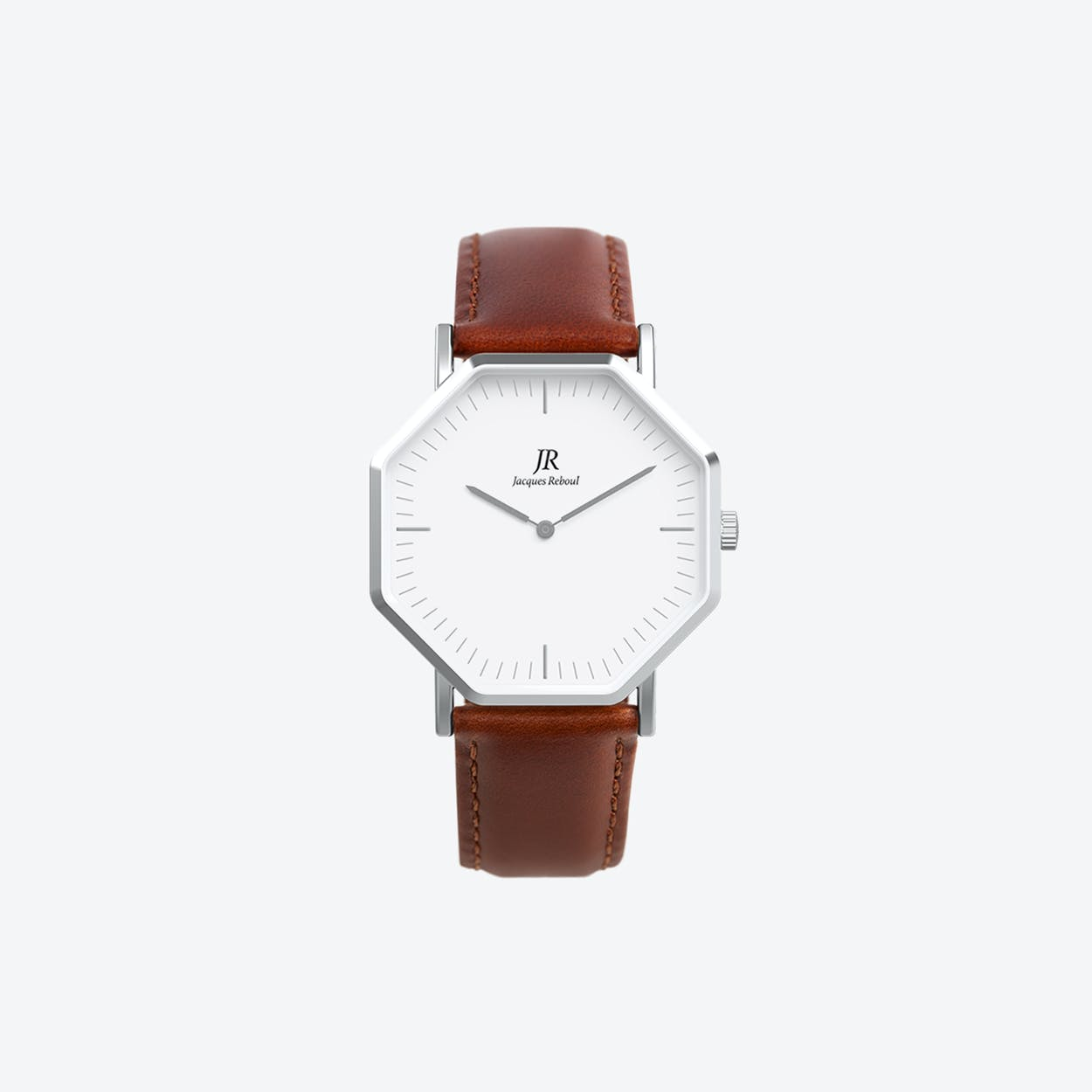 Premier Classic Silver Hexagonal Watch with Brown Leather Strap 41mm