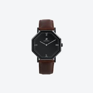 Nuit Noir Roman Black Hexagonal Watch with Dk Brown Leather Strap 41mm