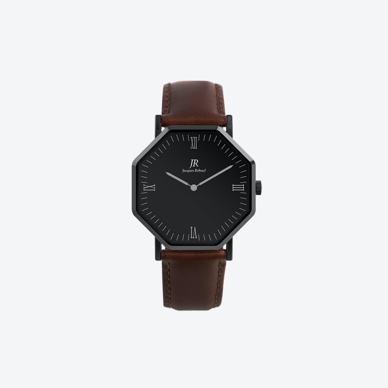 Nuit Noir Roman Black Hexagonal Watch with Dk Brown Leather Strap 41mm