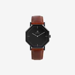 Nuit Noir Classic Black Hexagonal Watch with Brown Leather Strap 41mm