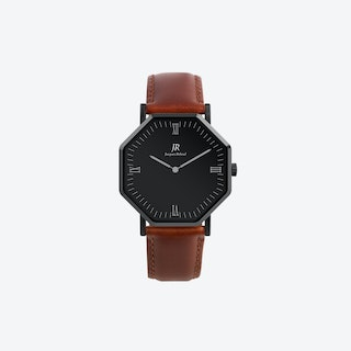 Nuit Noir Roman Black Hexagonal Watch with Brown Leather Strap 41mm
