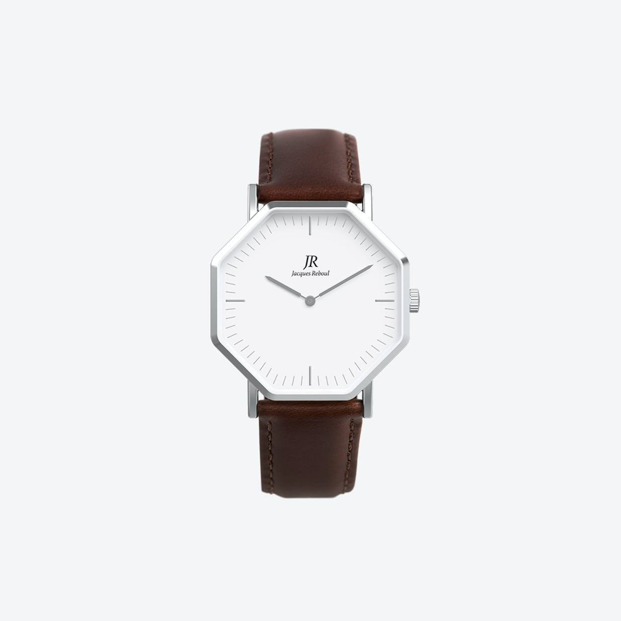 Premier Classic Silver Hexagonal Watch with Dk Brown Leather Strap 41mm
