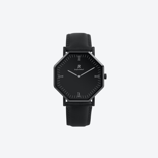 Nuit Noir Roman Black Hexagonal Watch with Black Leather Strap 41mm