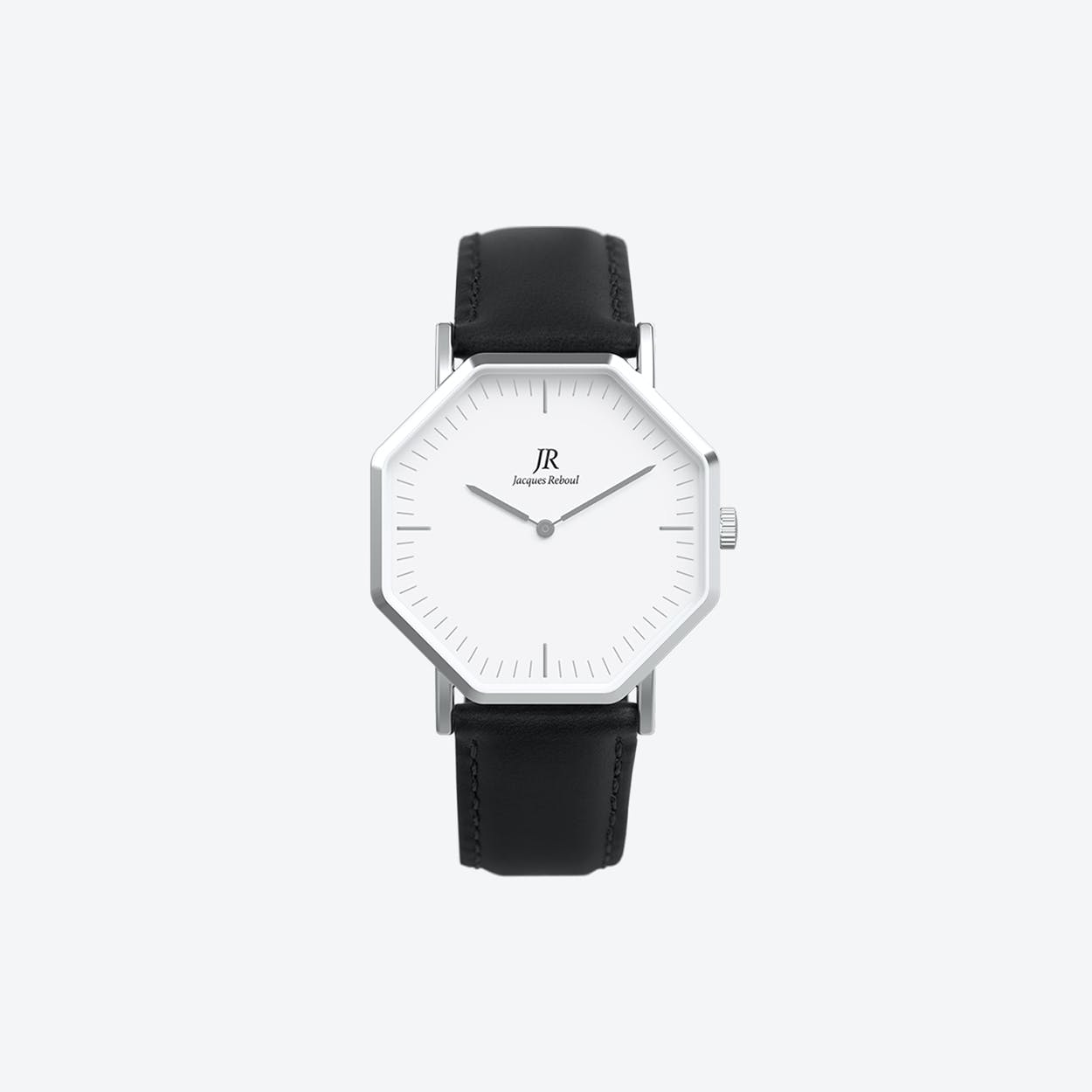 Premier Classic Silver Hexagonal Watch with Black Leather Strap 41mm