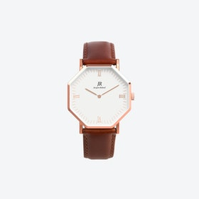 Lumiere Intense Roman Rose Gold Hexagonal Watch with Brown Leather Strap 41mm