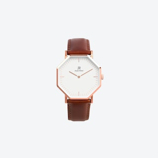 Lumiere Intense Classic Rose Gold Hexagonal Watch with Brown Leather Strap 36mm