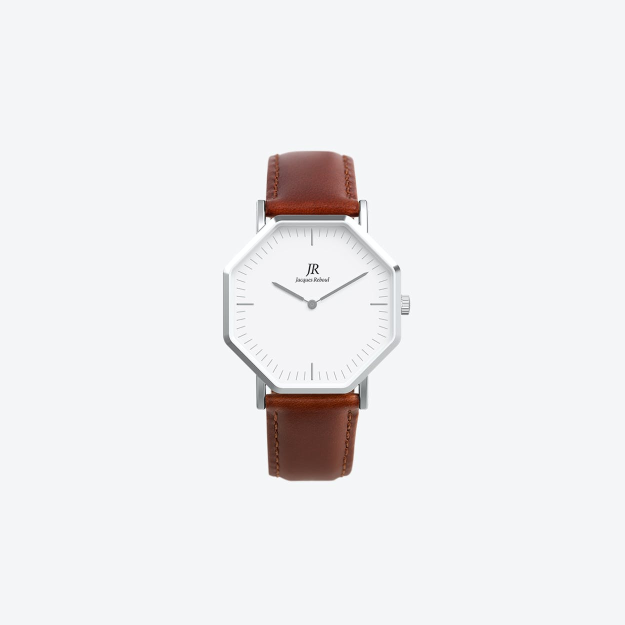 Premier Classic Silver Hexagonal Watch with Brown Leather Strap 36mm