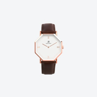 Lumiere Intense Roman Rose Gold Hexagonal Watch with Dk Brown Leather Strap 36mm