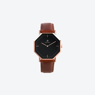 Lumiere Classic Rose Gold Hexagonal Watch with Brown Leather Strap 36mm