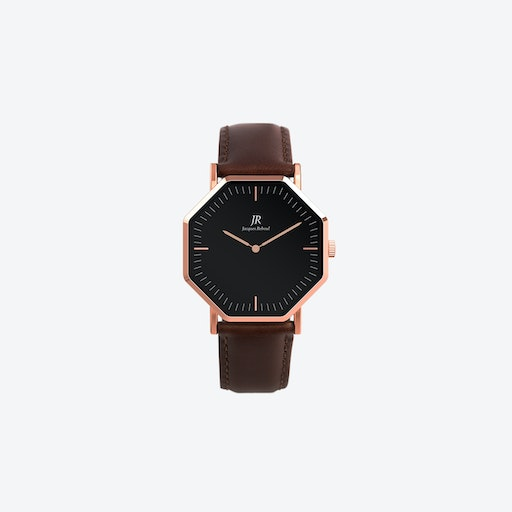 Lumiere Classic Rose Gold Hexagonal Watch with Dk Brown Leather Strap 36mm