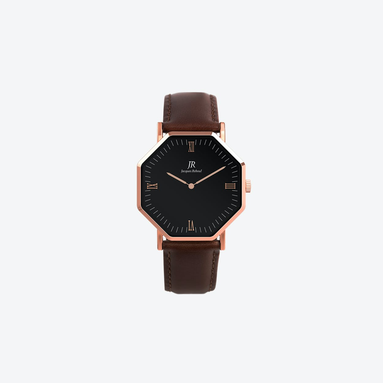 Lumiere Roman Rose Gold Hexagonal Watch with Dk Brown Leather Strap 36mm