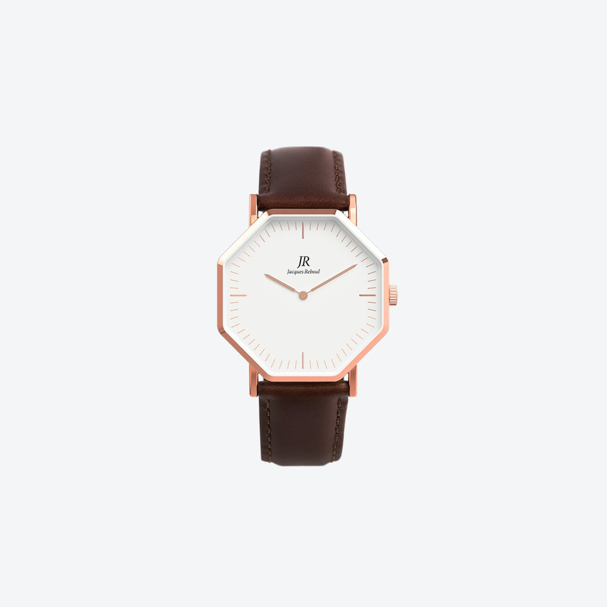 Lumiere Intense Classic Rose Gold Hexagonal Watch with Dk Brown Leather Strap 36mm