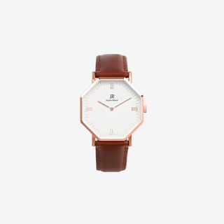 Lumiere Intense Roman Rose Gold Hexagonal Watch with Brown Leather Strap 36mm