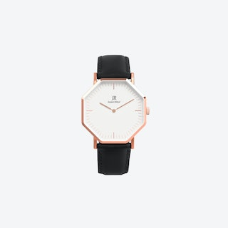 Lumiere Intense Classic Rose Gold Hexagonal Watch with Black Leather Strap 36mm