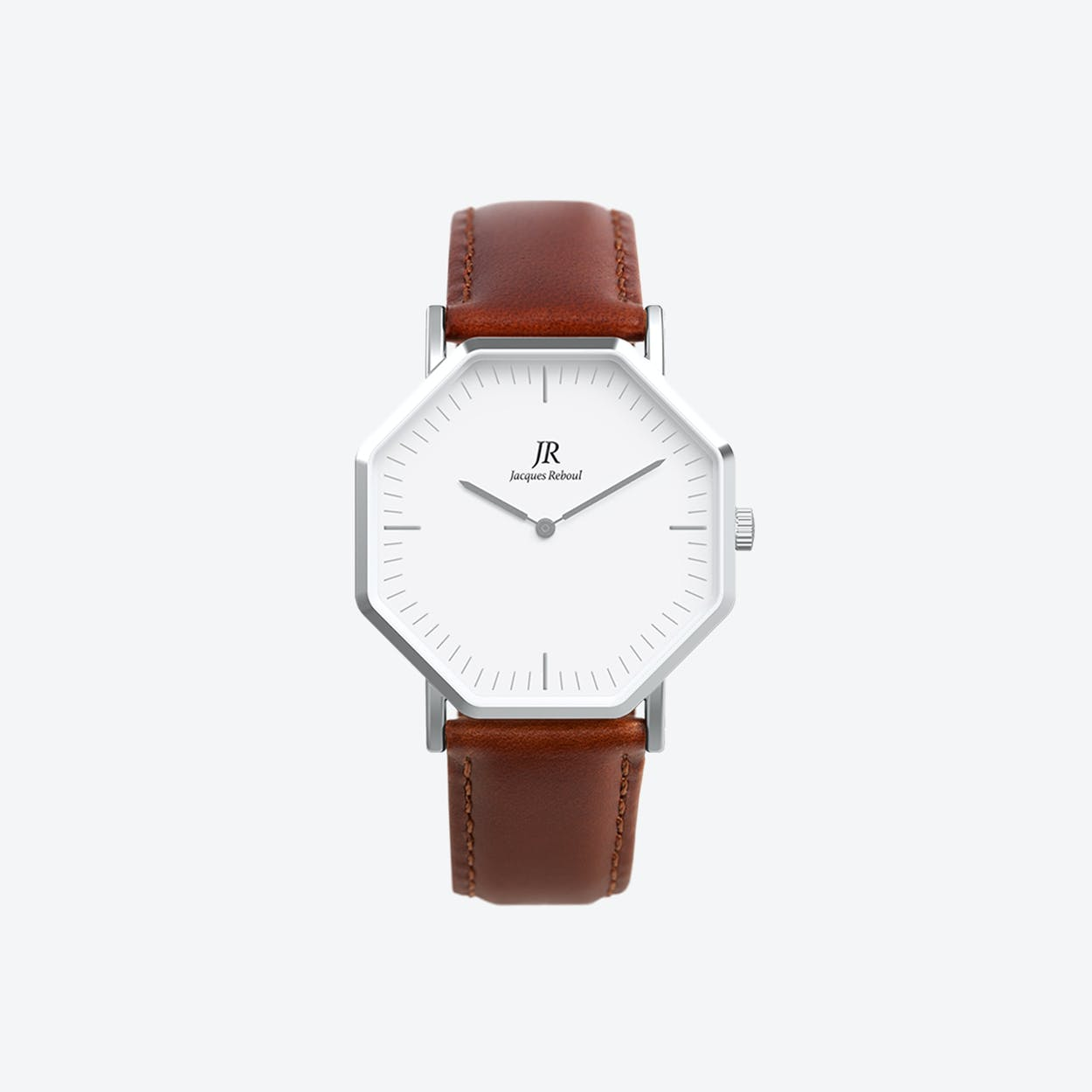 Premier Classic Silver Hexagonal Watch with Brown Leather Strap 44mm