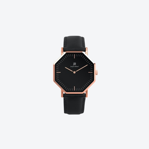Lumiere Classic Rose Gold Hexagonal Watch with Black Leather Strap 36mm