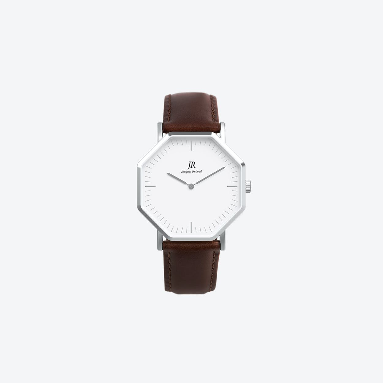 Premier Classic Silver Hexagonal Watch with Dk Brown Leather Strap 36mm