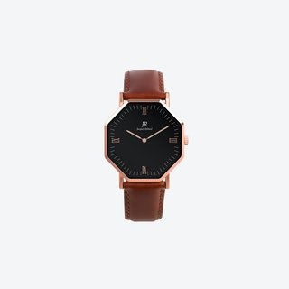 Lumiere Roman Rose Gold Hexagonal Watch with Brown Leather Strap 36mm