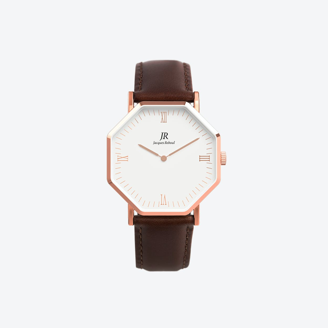 Lumiere Intense Roman Rose Gold Hexagonal Watch with Dk Brown Leather Strap 44mm