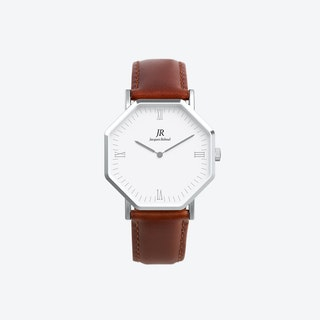 Premier Roman Silver Hexagonal Watch with Brown Leather Strap 44mm