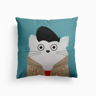 Cat Elvis Canvas Cushion