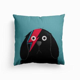 Dog Bowie Black Canvas Cushion