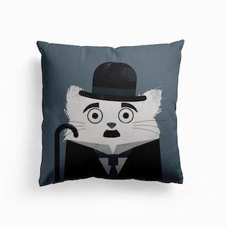 Cat Chaplin Canvas Cushion